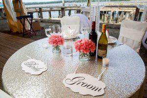 Wedding head table: Silver sequin tablecloth