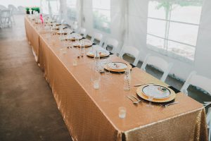 Wedding head table: Gold sequin tablecloth