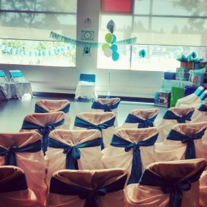 Baby shower chairs: Universal white satin chair covers with blue satin sashes
